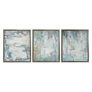 Genevere Blue and Gray Framed Oil Wall Painting, Set of 3