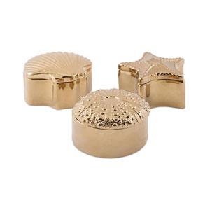 Petra Gold Ceramic Shell Boxes, Set of 3