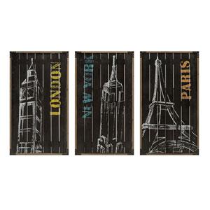 City Chalk Art Decor, Set of 3