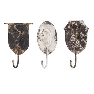Burns Metal Animal Wall Hooks, Set of 3