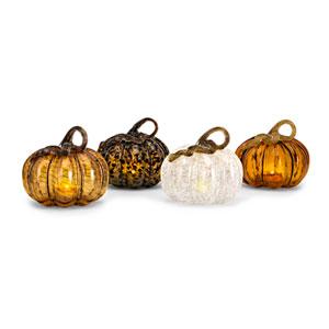 Medium Glass LED Pumpkin, Set of 4