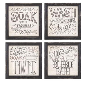 Bath Time Wall Decor, Set of 4