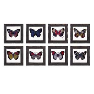 Butterfly Framed Glass Wall Decor, Set of 8