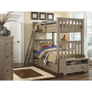 Highlands Driftwood Harper Twin/Twin Bunk Bed with Storage