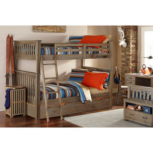 Highlands Driftwood Harper Full Bunk Bed with Trundle Driftwood