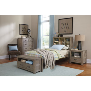 Highlands Driftwood Twin Bookcase Bed