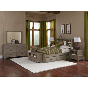 Highlands Driftwood Full Bookcase Bed with Storage