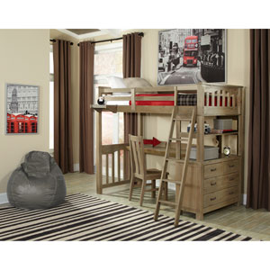 Highlands Driftwood Twin Loft Bed with Desk