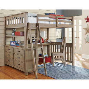 Highlands Driftwood Full Loft Bed with Desk