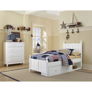 Lake House White Kennedy Twin Bed with Storage