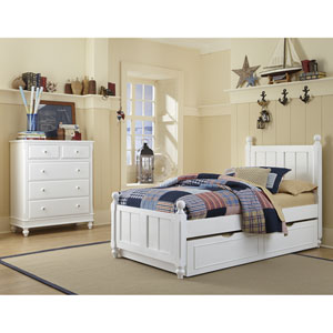 Lake House White Kennedy Twin Bed with Trundle