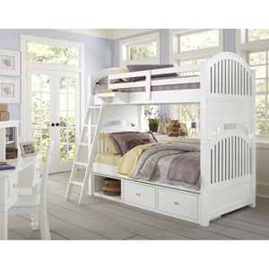 Lake House White Adrian Twin Bunk Bed with Storage
