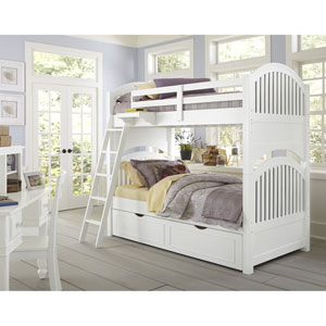Lake House White Adrian Twin Bunk Bed with Trundle