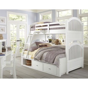 Lake House White Adrian Twin Over Full Bunk Bed with Storage