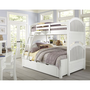 Lake House White Adrian Twin Over Full Bunk Bed with Trundle