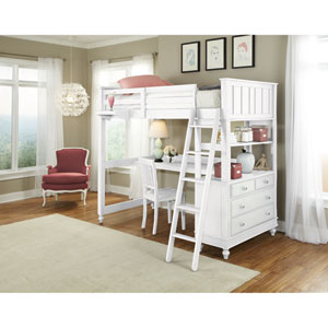 Lake House White Twin Loft with Desk