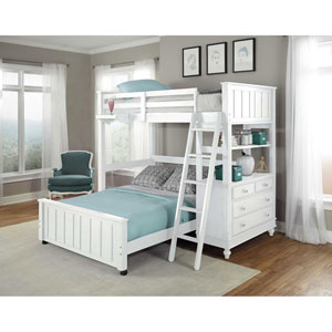 Lake House White Twin Loft with Full Lower Bed