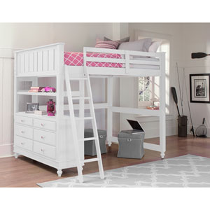 Lake House White Full Loft Bed