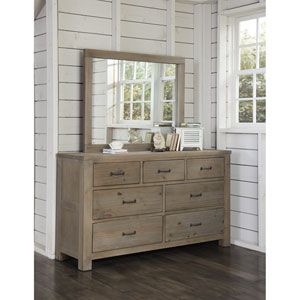 Highlands Driftwood 7 Drawer Dresser with Mirror