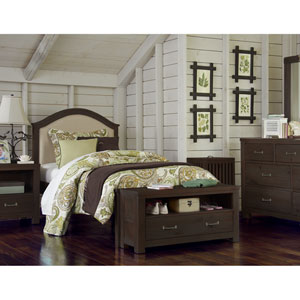 Highlands Espresso Twin Bailey Upholstered Bed