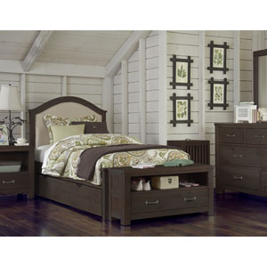 Highlands Espresso Twin Bailey Upholstered Bed with Trundle