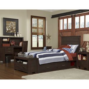 Highlands Espresso Twin Alex Panel Bed with Storage