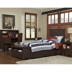 Highlands Espresso Twin Alex Panel Bed with Trundle