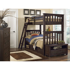 Highlands Espresso Harper Twin Bunk Bed with Storage