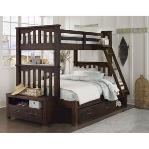 Highlands Espresso Harper Twin Over Full Bunk Bed with Storage
