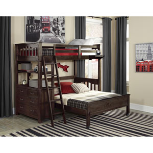 Highlands Espresso Twin Loft Bed with Full Lower Bed