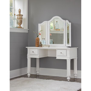 Lake House White Writing Desk with Vanity Mirror