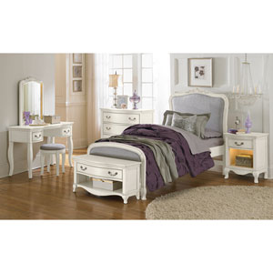 Kensington Antique White Twin Katherine Upholstered Panel Bed