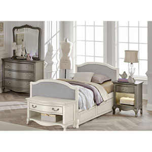 Kensington Antique White Victoria Upholstered Panel Full Bed with Trundle