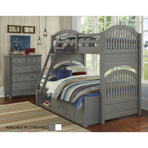 Lake House Stone Adrian Twin Over Full Bunk Bed with Storage