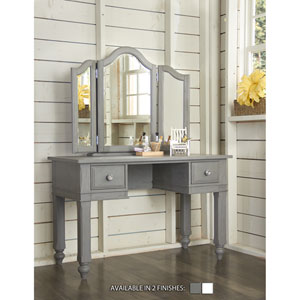 Lake House Stone Writing Desk with Vanity Mirror