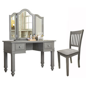 Lake House Stone Writing Desk with Vanity Mirror and Chair
