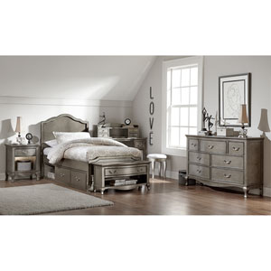 Kensington Antique Silver Charlotte Panel Twin Bed with Storage