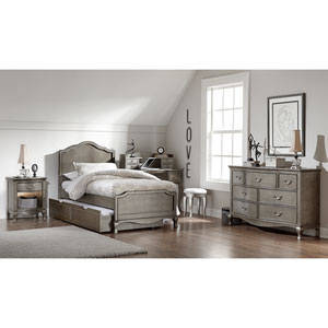 Kensington Antique Silver Charlotte Panel Twin Bed with Trundle