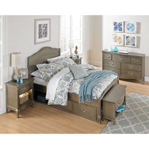 Kensington Antique Silver Charlotte Panel Full Bed with Storage