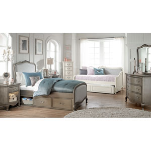 Kensington Antique Silver Katherine Upholstered Panel Twin Bed with Storage