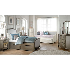 Kensington Antique Silver Katherine Upholstered Panel Twin Bed with Trundle