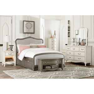 Kensington Antique Silver Katherine Upholstered Panel Full Bed with Trundle