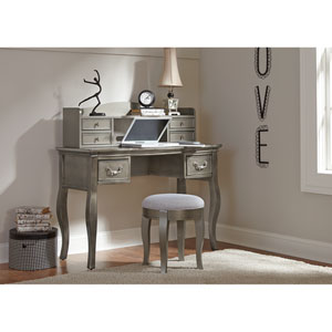 Kensington Antique Silver Writing Desk with Hutch