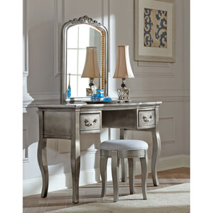 Kensington Antique Silver Writing Desk with Vanity Mirror and Stool