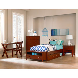 Pulse Cherry Full Platform Bed with Storage