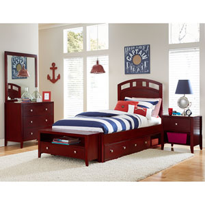 Pulse Cherry Twin Arch Bed with Storage