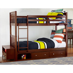 Pulse Cherry Twin Bunk Bed with Storage