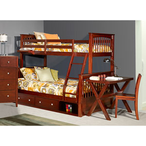 Pulse Cherry Twin Over Full Bunk Bed with Storage