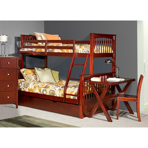 Pulse Cherry Twin Over Full Bunk Bed with Trundle