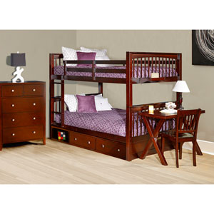 Pulse Cherry Full Bunk Bed with Storage